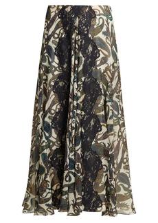 Chloé Paisley-print silk-chiffon and lace midi skirt