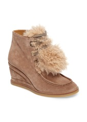 Chloé Peggy Genuine Shearling Wedge Bootie (Women)