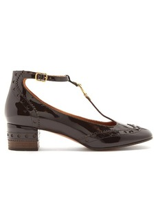 Chloé Perry patent-leather T-bar pumps