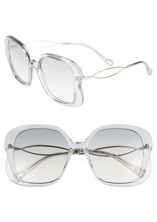 Chloé Petal 56mm Rectangle Sunglasses
