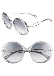 Chloé Petal 57mm Gradient Round Sunglasses