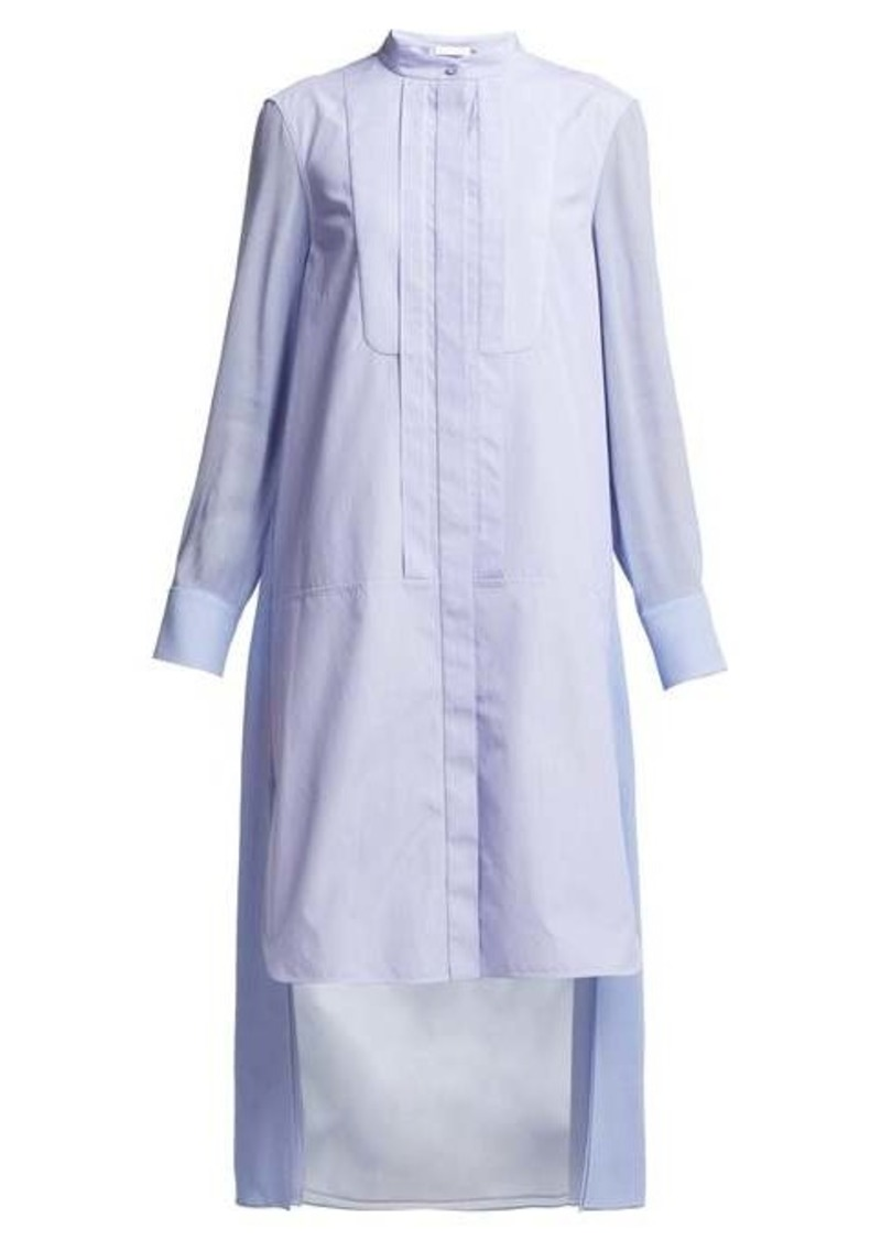 Chloé Pinstripe high-neck cotton-poplin shirtdress