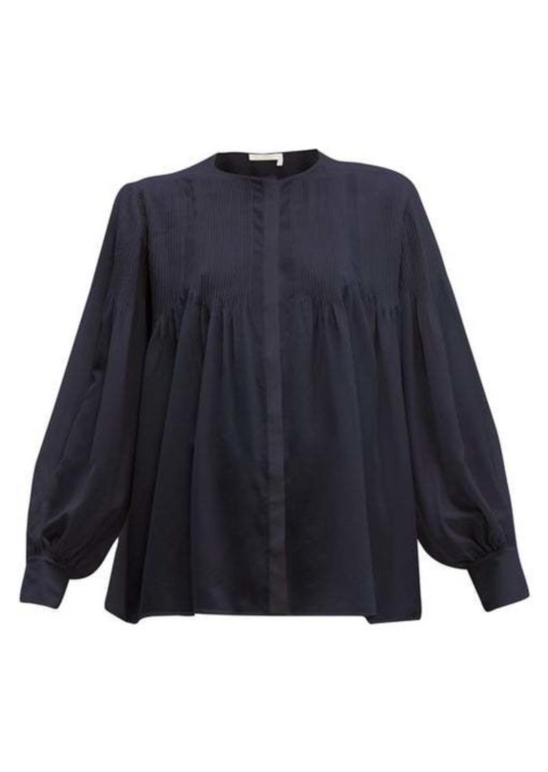 Chloé Pintuck silk crepe de Chine blouse