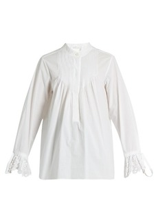 Chloé Pintucked cotton-poplin blouse