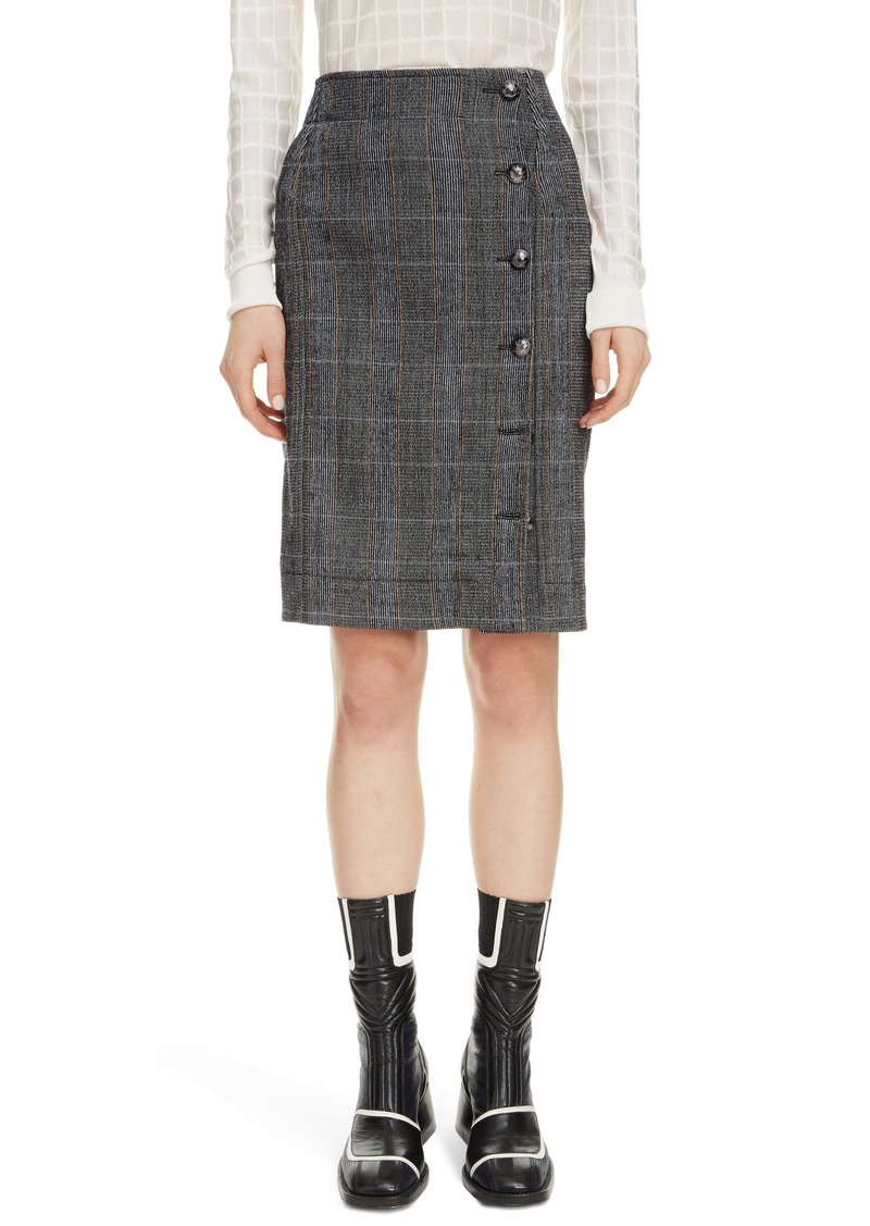 Chloé Plaid Stretch Wool Pencil Skirt