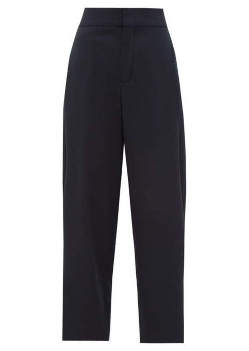 Chloé Pleat-front cropped wool-blend trousers