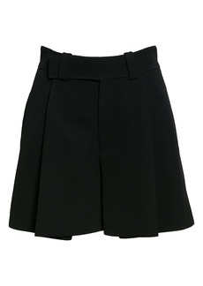 Chloé Pleated Double Face Crepe Shorts