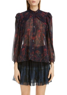 Chloé Pleated Floral Silk Blouse