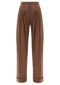Chloé Pleated houndstooth wool-flannel wide-leg trousers