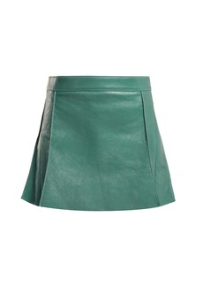 Chloé Pleated leather mini skirt