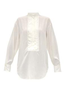 Chloé Pleated plastron silk-crepe blouse
