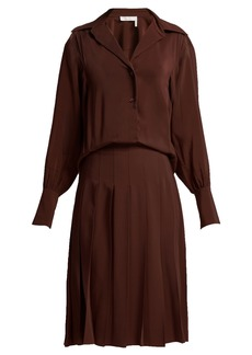 Chloé Pleated silk crepe de Chine shirtdress
