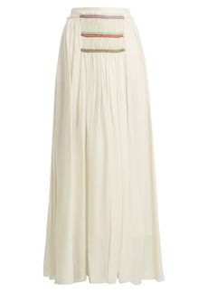 Chloé Pleated silk-georgette skirt