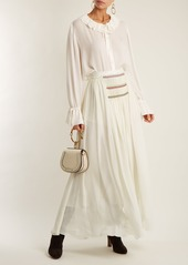 Chloé Pleated silk-georgette skirt