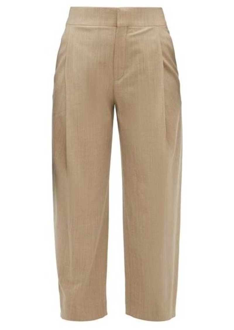 Chloé Pleated virgin wool-blend cropped trousers
