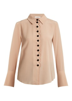Chloé Point-collar scalloped-edged silk crepe shirt