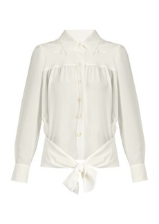 Chloé Point-collar tie-waist silk shirt