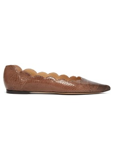 Chloé Pointy Lauren scallop-edge leather flats