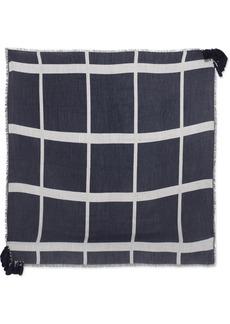 Chloé Pom Pom Frayed Wool, Silk And Cashmere-blend Scarf