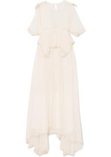 Chloé Pompom-trimmed silk-crepon peplum gown