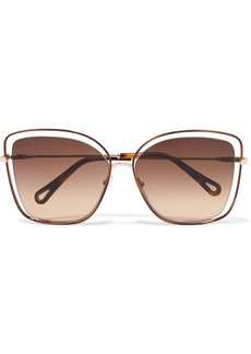 Chloé Poppy Cat-eye Acetate And Gold-tone Sunglasses
