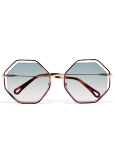 Chloé Poppy octagon-frame acetate and gold-tone sunglasses