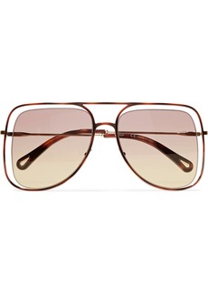 Chloé Poppy square-frame acetate and gold-tone sunglasses