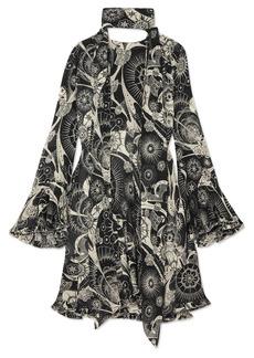 Chloé Printed cotton and silk-blend crepon mini dress