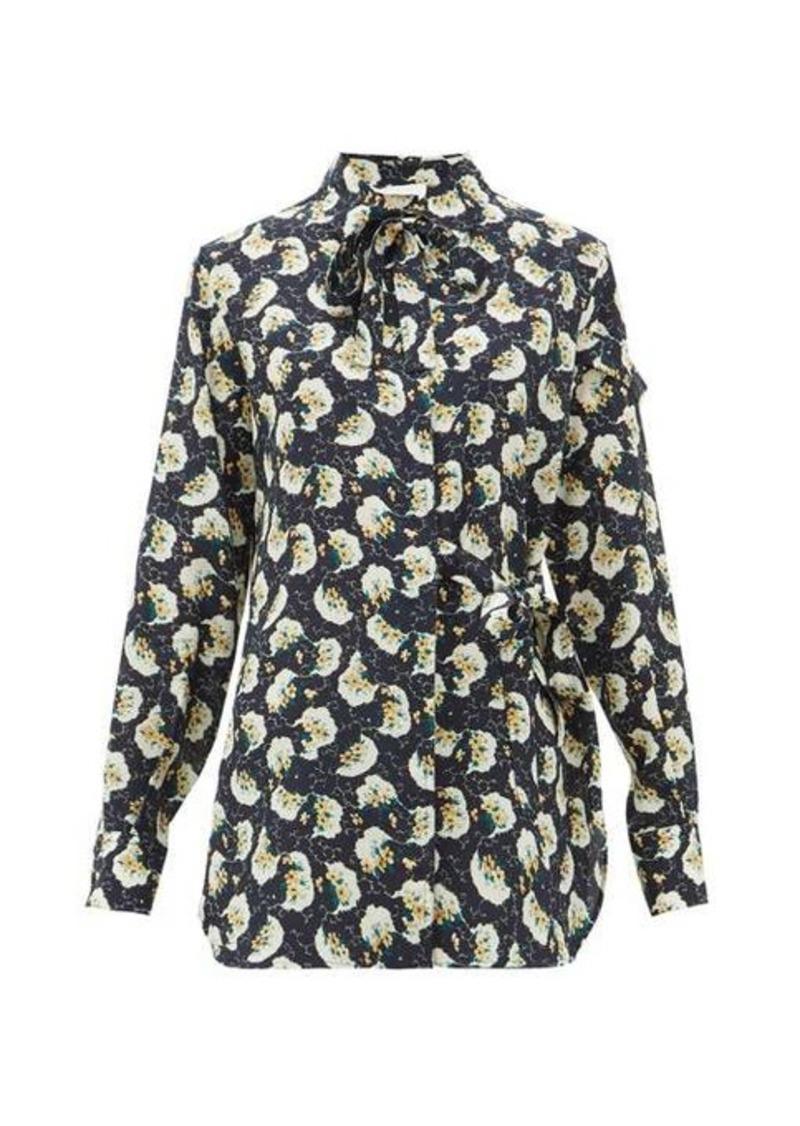 Chloé Pussy-bow floral-print silk wrap blouse