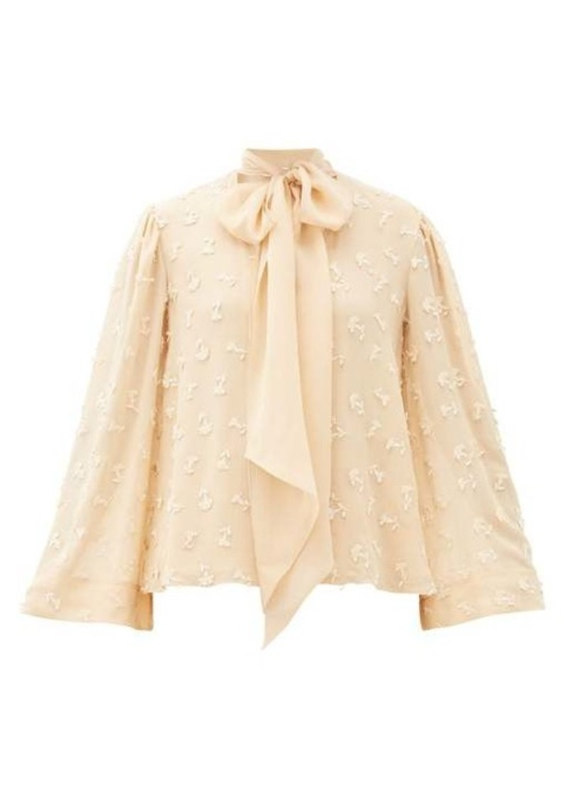 Chloé Pussy-bow guipure lace-embroidered silk blouse