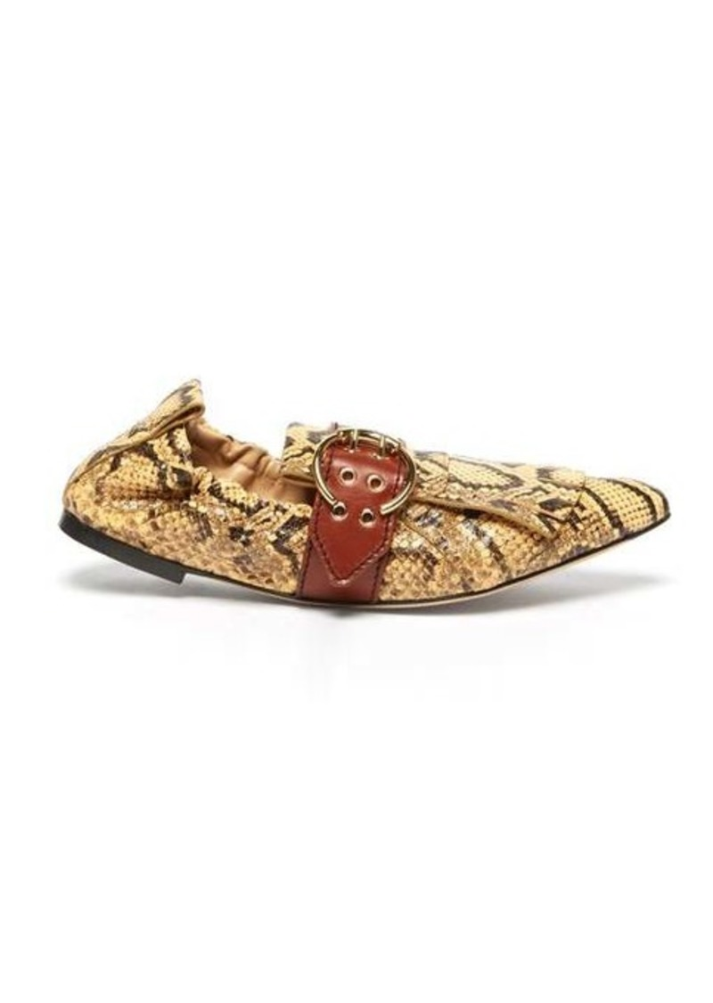 Chloé Python-effect fringed leather ballet flats