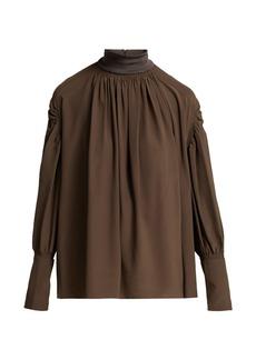 Chloé Ribbed-neck silk blouse