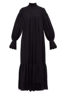 Chloé Ribbed-neck silk-georgette dress
