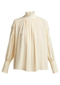 Chloé Roll-neck silk crepe de Chine blouse