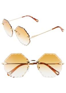 672d333af79 Chloé Rosie 58mm Gradient Octagonal Rimless Sunglasses