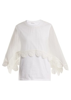 Chloé Round-neck lace-trimmed cotton-jersey top