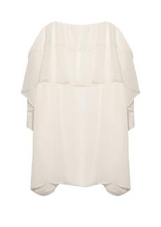 Chloé Ruffle lace-trimmed silk-crépon top
