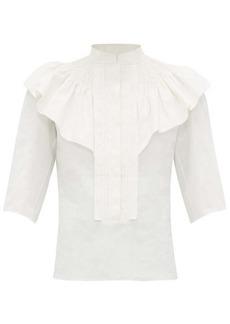 Chloé Ruffle-trim smocked linen blouse