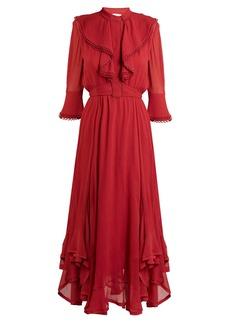 Chloé Ruffle-trimmed handkerchief-hem silk dress