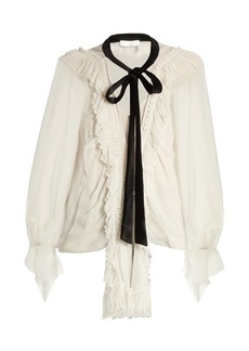 Chloé Ruffle-trimmed oversized silk-crepon blouse