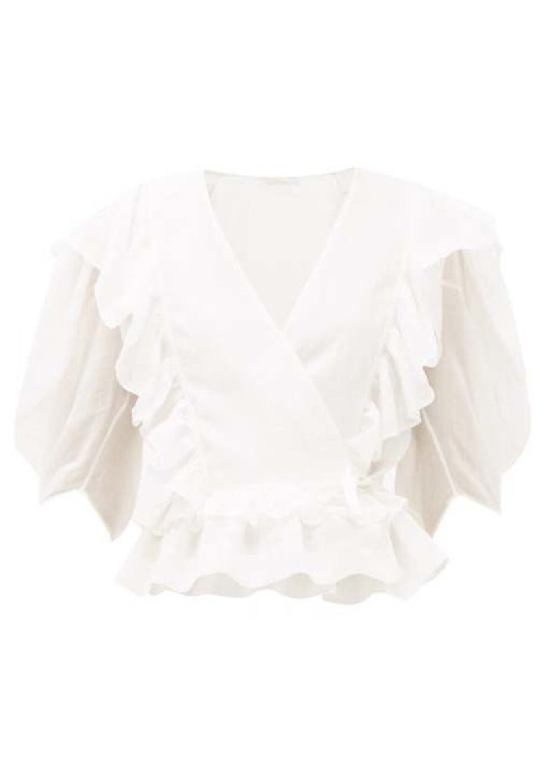 Chloé Ruffle-trimmed ramie wrap top