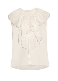 Chloé Ruffle-trimmed silk-crepe blouse