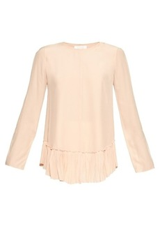 Chloé Ruffle-trimmed silk-crepe top
