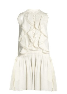 Chloé Ruffle-trimmed sleeveless linen dress