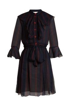 Chloé Ruffle-trimmed striped silk-georgette dress