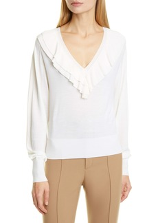 Chloé Ruffle V-Neck Merino Wool Sweater