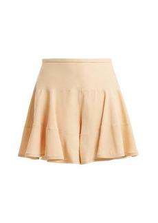 Chloé Ruffled crepe cady shorts