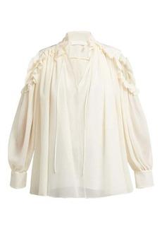 Chloé Ruffled cut-out shoulder silk blouse