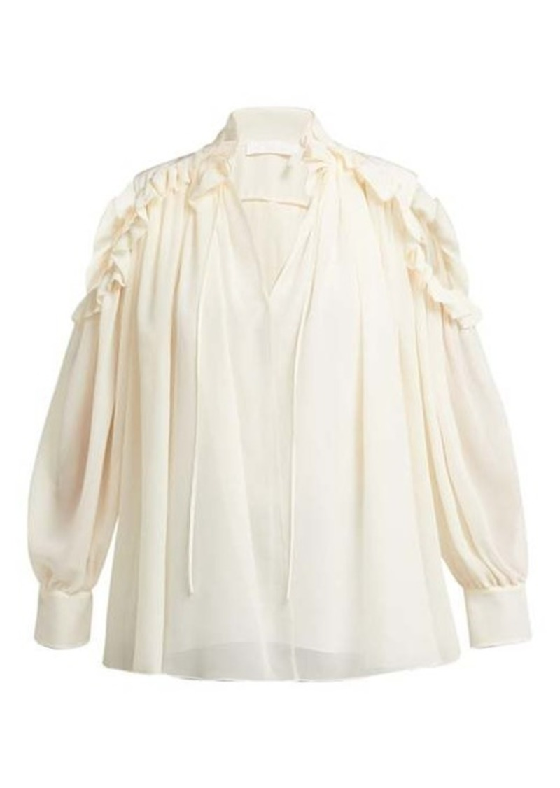 Chloé Ruffled cut-out shoulder silk blouse