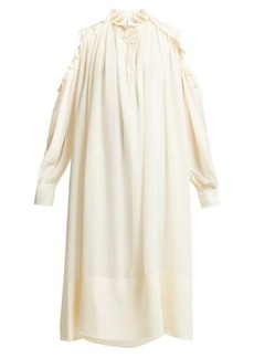 Chloé Ruffled cut-out shoulder silk-georgette midi dress